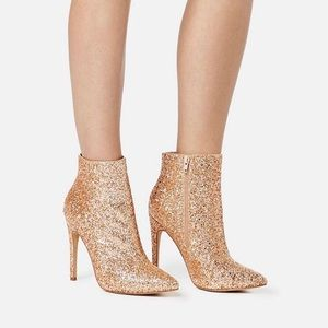 Sparkly Rose Gold Stiletto Heels Ankle Boots 9